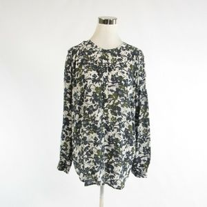 Ann Taylor LOFT gray floral blouse L